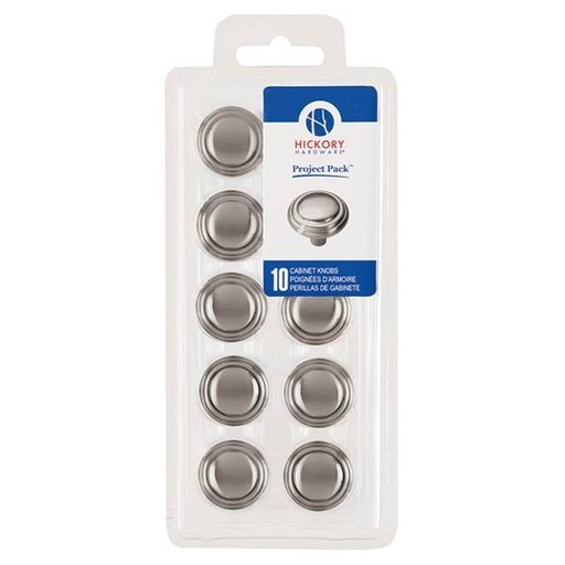 "View a Larger Image of 1-1/8"" Bel Aire Cabinet Knob Project Pack, Satin Nickel, 10 pieces"