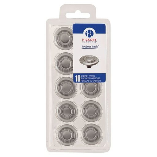 "View a Larger Image of 1-3/8"" Cavalier Cabinet Knob Project Pack, Satin Nickel, 10 pieces"