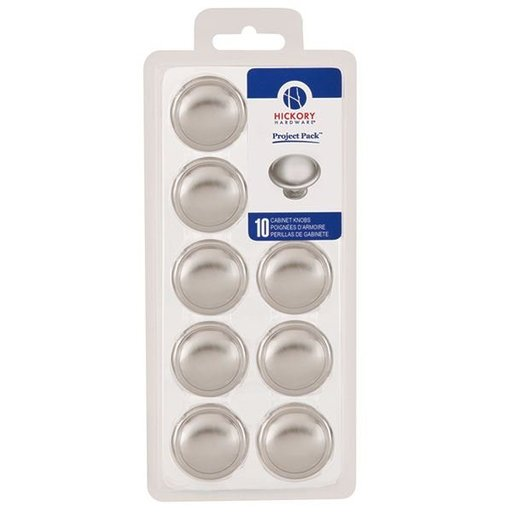 "View a Larger Image of 1-3/8"" Conquest Cabinet Knob Project Pack, Satin Nickel, 10 pieces"