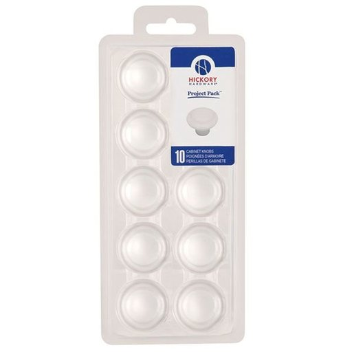 "View a Larger Image of 1-3/8"" Conquest Cabinet Knob Project Pack, White, 10 pieces"