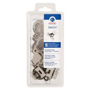 "Concealed Face Frame Hinge with 1/2"" (1-piece) Overlay Project Pack, Bright Nickel"