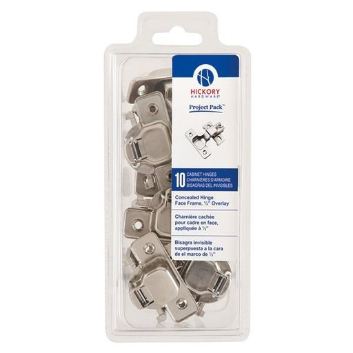 "View a Larger Image of Concealed Face Frame Hinge with 1/2"" (2-piece) Overlay Project Pack, Bright Nickel"