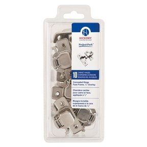 "Concealed Face Frame Hinge with 1/2"" (2-piece) Overlay Project Pack, Bright Nickel"