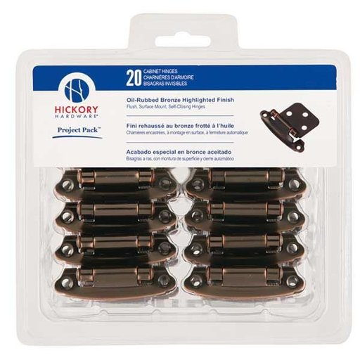 View a Larger Image of Surface Self-Closing Flush Hinges Project Pack, Oil Rubbed Bronze, 20 pieces