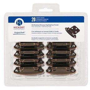 Surface Self-Closing Flush Hinges Project Pack, Oil Rubbed Bronze, 20 pieces