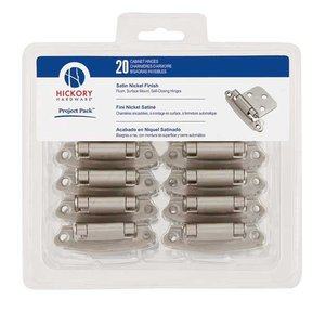 Surface Self-Closing Flush Hinges Project Pack, Satin Nickel, 20 pieces