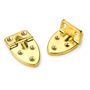 "90 degree Stop Hinge Brass Plated 2-19/32"" x 1-17/32"" Pair"
