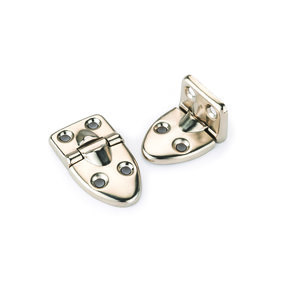 "90° Stop Hinge Nickel Plated 2-1/16"" x 1-1/18"" Pair"