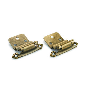 "Antique Brass 3/8"" Inset Surface Mount Hinge, Pair"