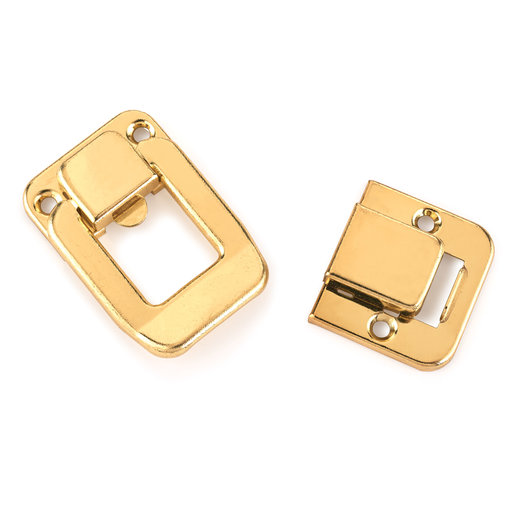 View a Larger Image of HIGHPOINT Case Draw Catch Polished Brass Plated 1-piece with Screws