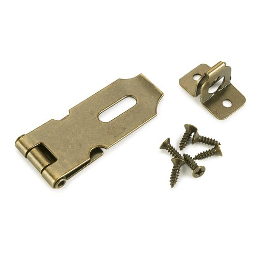 View a Larger Image of Chest Hasp Antique Brass 1-piece with Screws