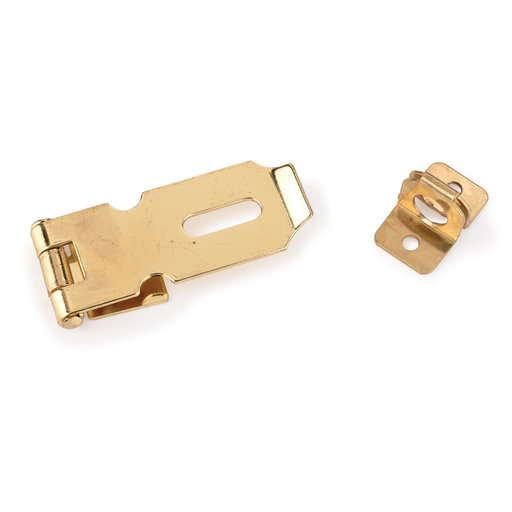 View a Larger Image of HIGHPOINT Chest Hasp Polished Brass Plated 1-piece with Screws