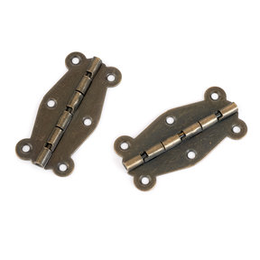 Decorative Box Hinge Antique Brass with Screws Pair