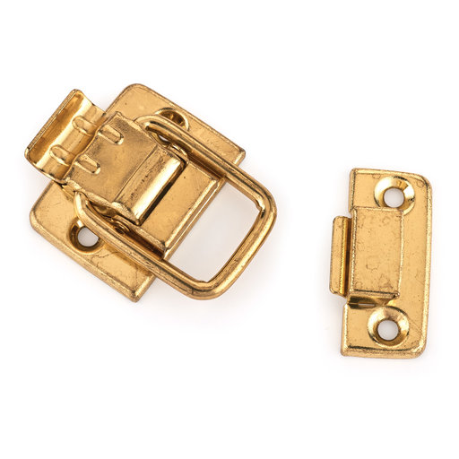 View a Larger Image of HIGHPOINT Draw Catch Small Polished Brass Plated 1-piece with Screws