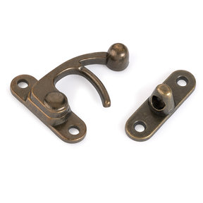 Hook Latch Large Antique Brass 1-piece with Screws