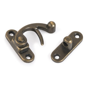 Hook Latch Small Antique Brass with Screws 1 pc