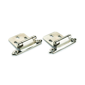 Nickel No Inset Surface Mount Hinge, Pair