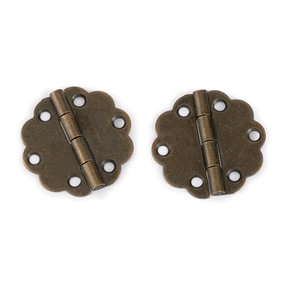 Round Decorative Box Hinge Antique Brass pair with Screws