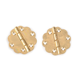 Decorative Round Box Hinge Polished Brass Finish with Screws Pair