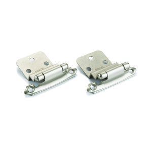 "Satin Nickel 3/8"" Inset Surface Mount Hinge, Pair"