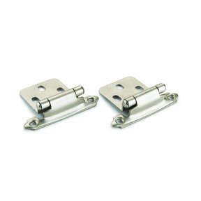 Satin Nickel No Inset Surface Mount Hinge, Pair