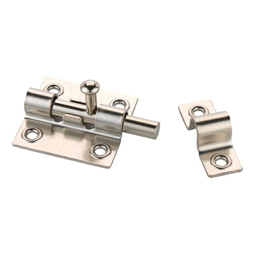 View a Larger Image of HIGHPOINT Sliding Barrel Bolt Nickel Finish 1-piece with Screws