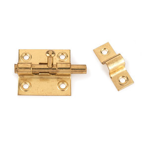 Sliding Barrel Bolt Polished Brass Plated 1-piece with Screws