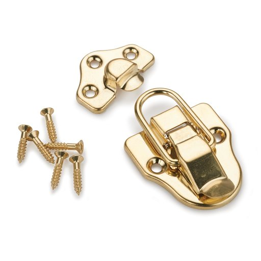 View a Larger Image of Trunk Draw Catch Polished Brass Plated 1-piece with Screws