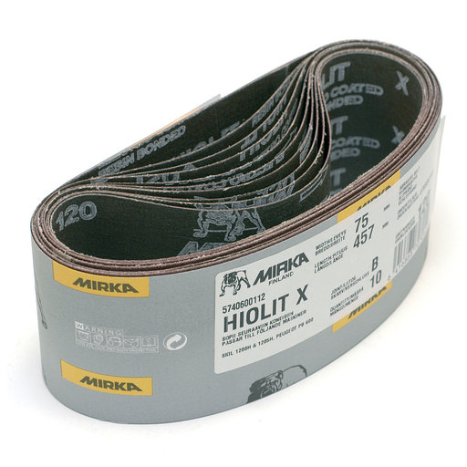 View a Larger Image of Hiolit XO Portable Abrasive Belt (Tape Joint), 120 Grit, 10 belts/box