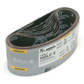 Hiolit XO Portable Abrasive Belt (Tape Joint), 120 Grit, 10 belts/box