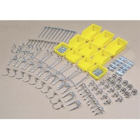 Hook Assortment, 95 pc, with 10 Hanging Bins for Peg Board