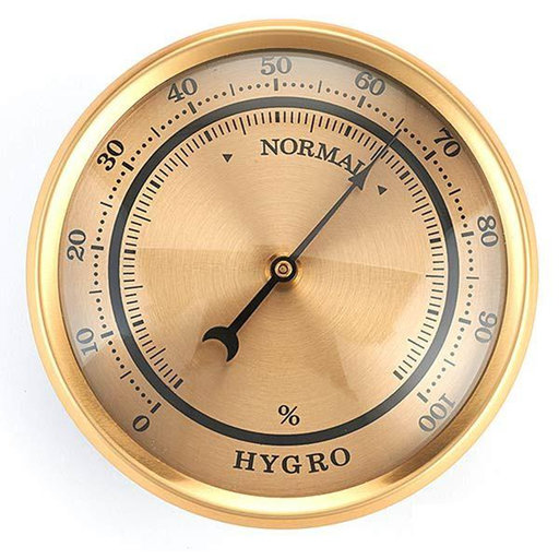View a Larger Image of Hygrometer w/Brushed Gold Dial and Brushed Gold Bezel