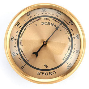 Hygrometer w/Brushed Gold Dial and Brushed Gold Bezel