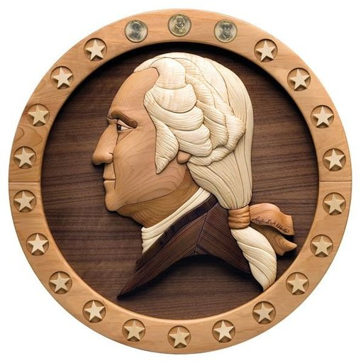 View a Larger Image of Intarsia Presidential Dollar Plaque - Downloadable Plan