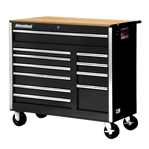"View a Larger Image of Tech Series 42"" 11-Drawer Cabinet with Wood Top, Black"