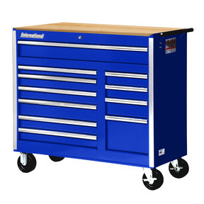 "Tech Series 42"" 11-Drawer Cabinet with Wood Top, Blue"