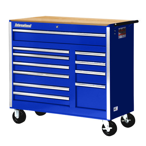 "View a Larger Image of Tech Series 42"" 11-Drawer Cabinet with Wood Top, Blue"