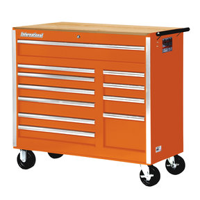 """Tech Series 42"""" 11-Drawer Cabinet with Wood Top, Orange"""