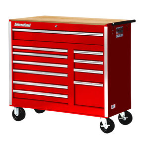 "Tech Series 42"" 11-Drawer Cabinet with Wood Top, Red"
