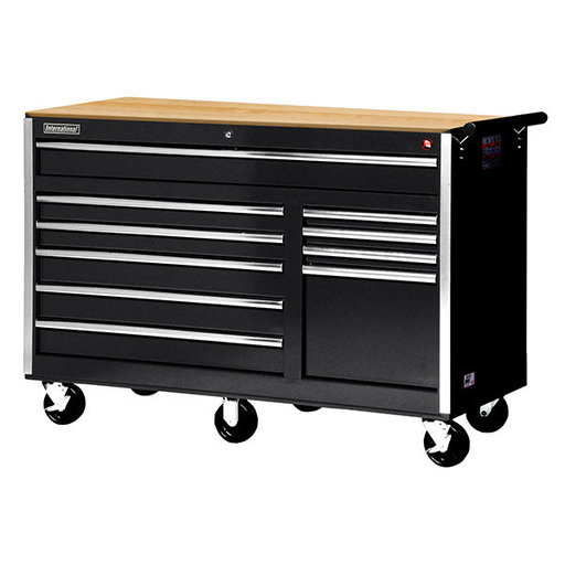 "View a Larger Image of Tech Series 56"" 10-Drawer Cabinet with Wood Top, Black"