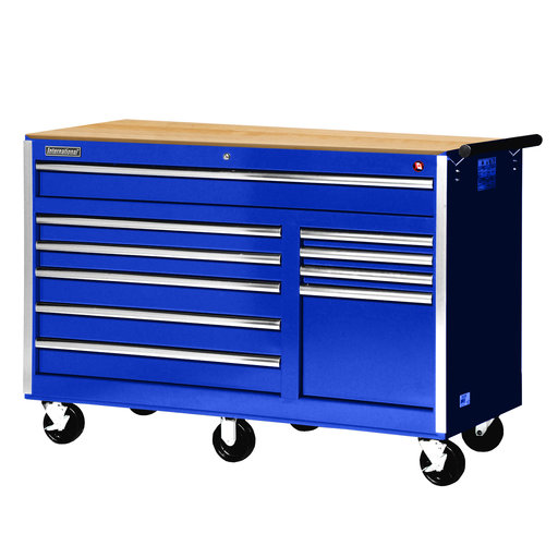 "View a Larger Image of Tech Series 56"" 10-Drawer Cabinet with Wood Top, Blue"