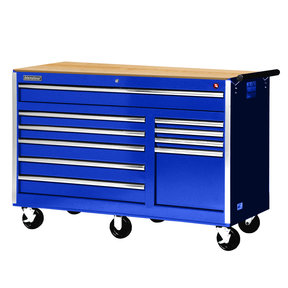 "Tech Series 56"" 10-Drawer Cabinet with Wood Top, Blue"