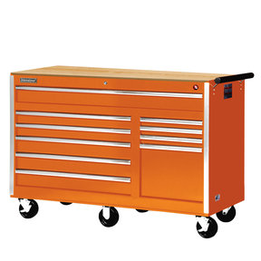 "Tech Series 56"" 10-Drawer Cabinet with Wood Top, Orange"