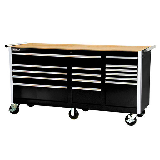 "View a Larger Image of Tech Series 75"" 15-Drawer Cabinet with Wood Top, Black"