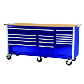 "Tech Series 75"" 15-Drawer Cabinet with Wood Top, Blue"