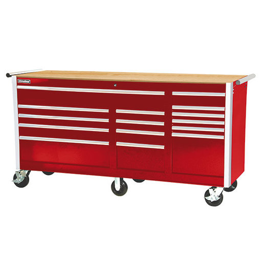 "View a Larger Image of Tech Series 75"" 15-Drawer Cabinet with Wood Top, Red"