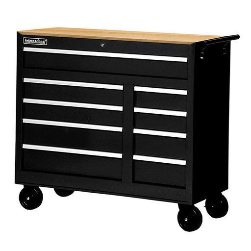 "View a Larger Image of Workshop Series 42"" 9-Drawer with Wood Top, Black"