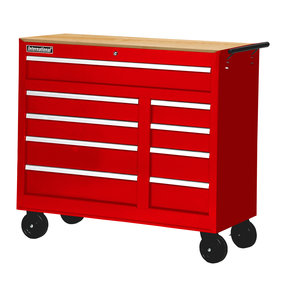 """Workshop Series 42"""" 9-Drawer with Wood Top, Red"""