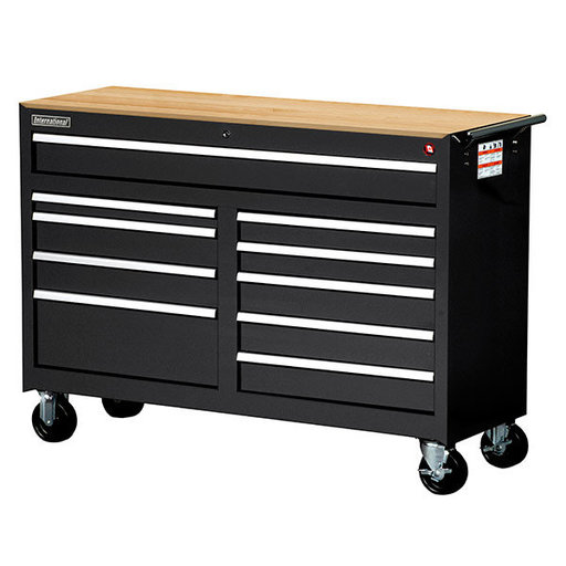 "View a Larger Image of Workshop Series 54"" 10-Drawer with Wood Top, Black"