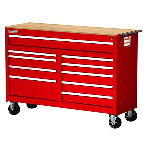 "View a Larger Image of Workshop Series 54"" 10-Drawer with Wood Top, Red"